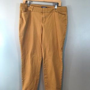 Old Navy Mustard Pixie Pants Mid Rise